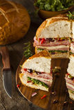Cajun Muffaletta Sandwich with Meat and Cheese Stock Photography