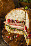 Cajun Muffaletta Sandwich with Meat and Cheese Stock Images
