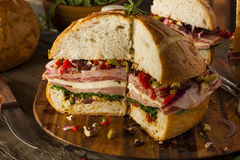 Cajun Muffaletta Sandwich with Meat and Cheese Royalty Free Stock Image