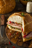 Cajun Muffaletta Sandwich with Meat and Cheese Royalty Free Stock Photography