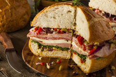 Cajun Muffaletta Sandwich with Meat and Cheese Royalty Free Stock Images