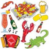 Cajun Nahrung-, Musik und Getränke clipart Ikonen und ele Lizenzfreies Stockfoto
