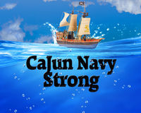 Cajun Navy Strong. The Cajun Navy Strong in deep blue waters Stock Photo
