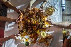 Cajun Seafood. Homemade Cajun Seafood, or seafood basket in Thailand Stock Image