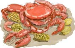 Cajun Seafood Watercolor Royalty Free Stock Image