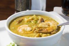 Cajun Shimp Gumbo. Bowl of fresh hot Cajun shrimp gumbo royalty free stock photography