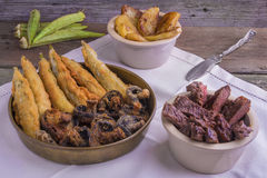 Cajun style  grilled entrecote, with deep fried okra, mushrooms Stock Images