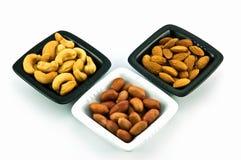Cajus, amendoins e amêndoas Imagem de Stock