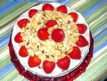 Cak de noix de coco de fraise Image stock