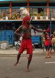 Cakalele Dance on Art and Cultural Festival 2017. Young Mollucan perform a dance from Ambon - Cakalele Dance - on a parade. Men have machete on right hand and Stock Image