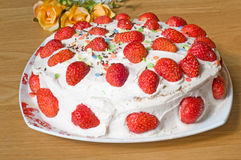 Cake. Shot of strawberry cake on the table Royalty Free Stock Images