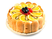 Cake. Biscuit, fruit cake on a white background Stock Images