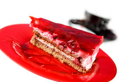 Cake. With cherry. Macrograph with shallow depth of field Stock Photos