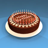 Cake. Chocolate cake decorated with candles. Made in 3d Stock Photography