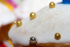 Cake. Covered with icing sugar and balls Stock Photography