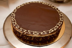 Cake. Chocolate cake on a plate stock photo