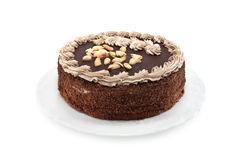 Cake. Chocolate cake isolated on white Stock Image