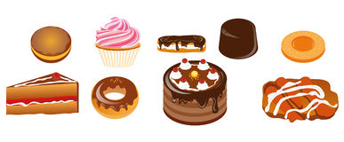 Cake. Vector illustration shows the different types of cakes royalty free illustration
