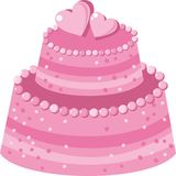 Cake. Decorated with pink hearts Stock Photos