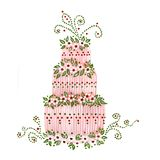 The Cake. Handmade illustration. Acrylic colors on paper Royalty Free Stock Photos