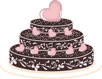 Cake. With many pink hearts Royalty Free Stock Image