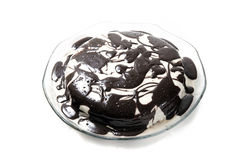 Cake. Black and white hand made cake in front of white background Stock Image