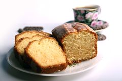 Cake. Delicious cake with coffee in background Royalty Free Stock Photo
