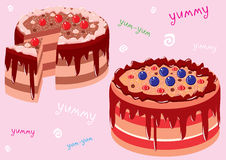 Cake. Vector illustration appetizing chocolate cake with red and dark blue berries Royalty Free Stock Photography
