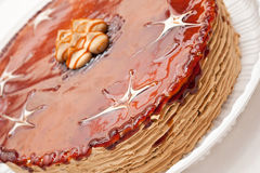 Cake. Pie about caramel a stuffing very close Stock Image