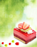 Cake. Fruit cake on green abstract background Stock Photos