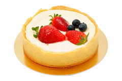 Cake. Cheesecake decorated with strawberries and blueberries Stock Photo