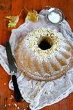 Cake. House fruitcake decorated by hazelnuts Stock Image