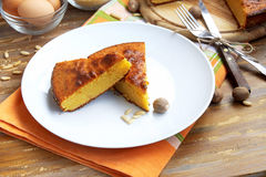 Cake. Sweet slices of cake with corn flour, delicious dessert Royalty Free Stock Photo