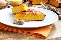 Cake. Sweet slices of cake with corn flour, delicious dessert Stock Photography