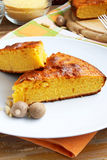 Cake. Sweet slices of cake with corn flour, delicious dessert Stock Images