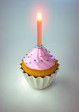 Cake. Rendering of a cake with pink cream and a red candle Royalty Free Stock Image