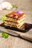 Cake. With chocolate on a plate Royalty Free Stock Photo