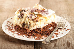 Cake. With chocolate on a plate Royalty Free Stock Photos