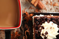 Cake. With chocolate on a plate Stock Photography