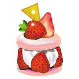 Cake. A slide of strawberries cheese cake, illustration, vector Royalty Free Stock Images