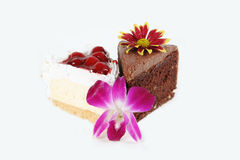 Cake. Pieces of cream cherry and chocolate cake and flowers isolated on white Stock Photo