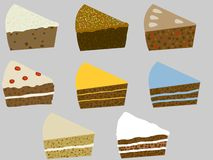 Cake. Illustration of eight slices of cake Royalty Free Stock Photo