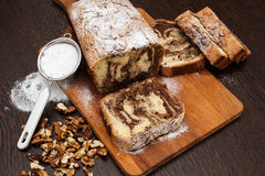 Cake. A type of cake made by meal, eggs, sugar, nuts and cocoa stock photos