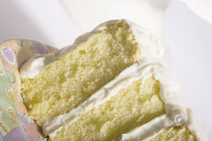 Cake. Yellow Cake with Vanilla Frosting royalty free stock photography