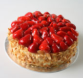 Cake. Strawbberry topping almond cheese cake Royalty Free Stock Photo