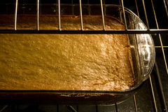 Corn cake in oven Royalty Free Stock Photo