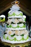 Cake. Wedding Cake with green trim Royalty Free Stock Photos