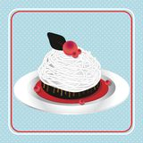 Cake. An illustration of decorated small cup cake in white plate Royalty Free Stock Images