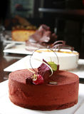 Cake. Chocolate cake with strawberry as decoration Royalty Free Stock Photography