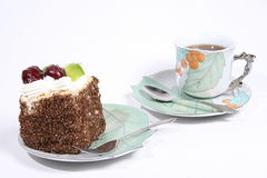 Cake. Fruity Cske and tea Royalty Free Stock Image